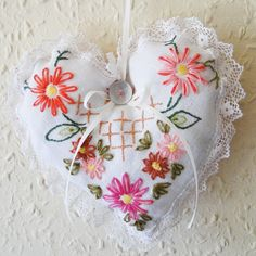 Hanging Heart Hand Embroidered Lavender Stuffed, Paradis Terrestre - Luxury British Made Accessories & Homeware Cute Sewing Projects, Chicken Crafts, Lavender Bags, Heart Hands, Textiles, Hanging Hearts, Stitches, Valentines, Craft Ideas