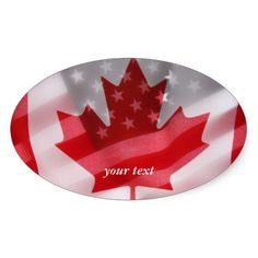 American and Canadian flags Oval Stickers #USACanadasticker, #USA, #Canada, #Americanflag, #Canadianflag