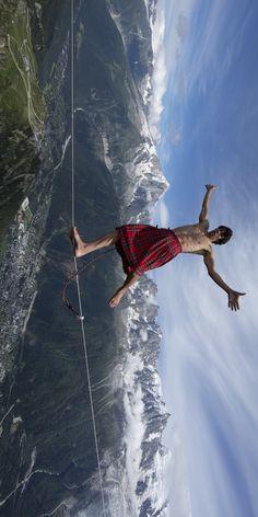High-altitude hijinks. #redbull #slacklining