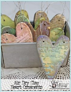 Air Dry Clay Heart Ornaments by Tammy Tutterow | DONE WITH EMBOSSING FOLDERS & STAMPS www.tammytutterow.com