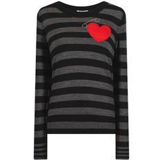 Intarsia Heart Motif Grey Striped Sweater ($235) ❤ liked on Polyvore featuring tops, sweaters, striped knit sweater, striped sweater, crew neck sweaters, heart sweater and crew sweater