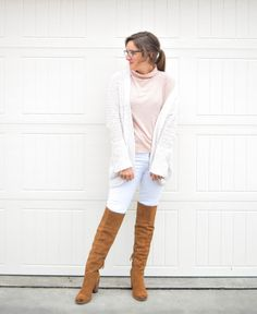 Made in Missouri || turtleneck || blush || white || Madewell || Steve Madden || otk boots || Hudson Jeans || spring style || spring fashion ||