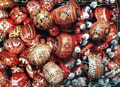 Lots and lots of pysanky printed at poor resolution