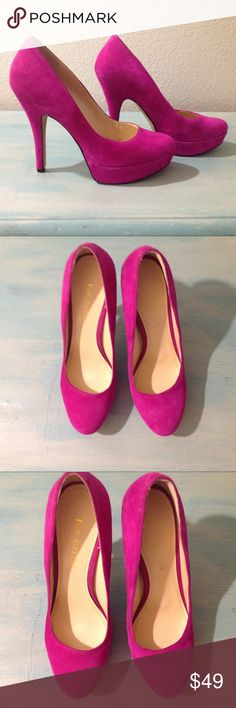 """ENZO ANGIOLINI """"Easmiles"""" Pink Suede Platform Heel Sleek and classic, a must have addition to any closet. Gorgeous pumps in a stunning pink suede. A demure shape with a modern lift from the 1"""" platform. Heels are 5"""". Leather upper. Never worn, new without box. Enzo Angiolini Shoes Heels"""