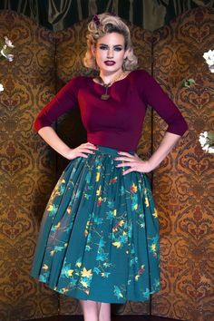 Pinup Couture Jenny Skirt in Leaves Print