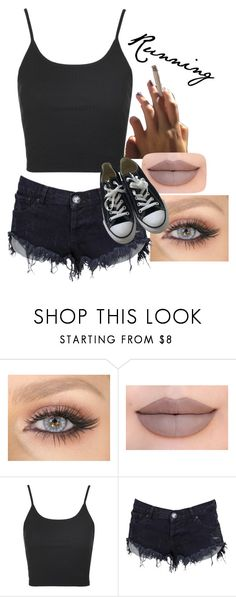"""""""For story- running"""" by barakitty88 ❤ liked on Polyvore featuring Jeffree Star, Topshop, OneTeaspoon and Converse"""