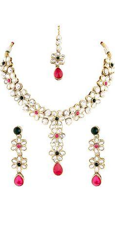 Pink Green Kundan Necklace Set.
