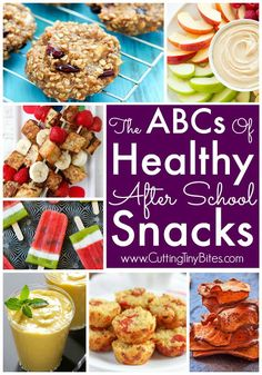 Healthy After School Snacks From A to Z. Your kids will LOVE all these healthy snack choices! Nothing too tricky to make, nothing too strange for your kids to eat!