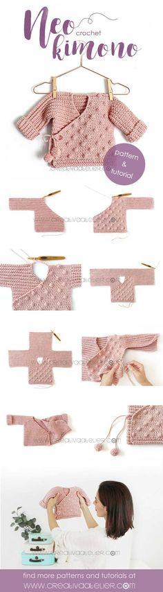 Crochet Kimono for Baby [ Tutorial y Patrón GRATIS ] – Baby knitting patterns Baby Knitting Patterns, Crochet Patterns, Knitting Ideas, Motif Kimono, Kimono Pattern, Crochet For Beginners, Crochet For Kids, Crochet Stitches, Knit Crochet