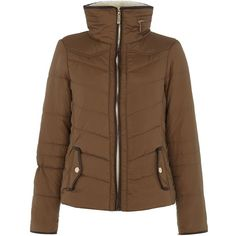 Camel Faux Shearling Collar Padded Jacket ($56) found on Polyvore