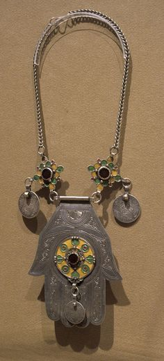 Africa | Necklace (hand of Fatima). Berber people.  Early 20th century.  Silver and enamel.