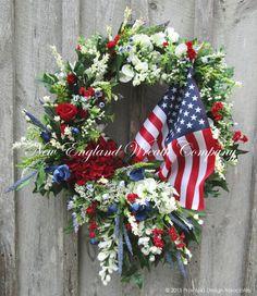 Summer Victorian Garden American Flag Wreath ~A New England Wreath Company Designer Original~