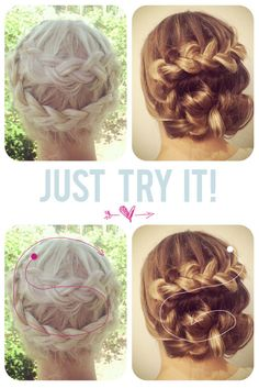 "The best way to learn new braids is to just TRY them! A lot of times we look at photos of braided hairstyles and say ""I could never do that!"", but a lot of our favorite braids have been total accidents… Love Hair, Great Hair, Gorgeous Hair, My Hairstyle, Pretty Hairstyles, Braided Hairstyles, Medium Hairstyle, Braided Updo, Looks Cool"