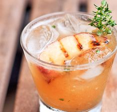Grilled Peach Cocktail - peach, olive oil, sugar, thyme, angostura bitters, lemon juice, bourbon