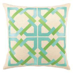 trina turk geometric blue/green embroidered pillow      price:$100.00