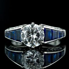 1.68 ct. Center Diamond and Sapphire Art Deco Style Engagement Ring