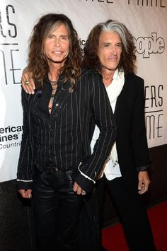 Steven Tyler With Joe Perry Arrivals at the Songwriters Hall of Fame Induction Ceremony at the New York Marriott Marquis on June 13, 2013