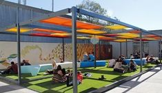 6 Marvelous Tips: Floating Roofing Architecture flat roofing balcony.Roofing Terrace Bbq shed roofing man cave.Roofing Colors Dream Homes. Cafe Seating, Restaurant Seating, Public Seating, Outdoor Seating Areas, Garden Seating, Outdoor Learning Spaces, Outdoor Spaces, Outdoor Dining, Outdoor Decor