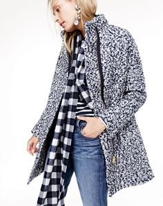 J.Crew women's bouclé cocoon coat, Saint James® for J.Crew slouchy T-shirt, slim broken-in boyfriend jean in Brentcove wash, crystal cluster earrings and buffalo check plaid scarf. To pre-order, call 800 261 7422 or email verypersonalstylist@jcrew.com.