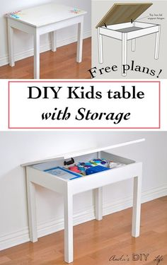 Easy Diy Kids Table With Storage Build A Schoolhouse Desk. Kids Table With Storage, Kids Storage, Desk Storage, Desk Organization, Storage Ideas, Kids Woodworking Projects, Diy Wood Projects, Woodworking Workbench, Woodworking Basics