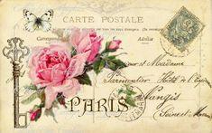 free images for decoupage Images Victoriennes, Rose Images, Images Vintage, Vintage Pictures, Vintage Greeting Cards, Vintage Postcards, Pocket Letter, Paris Vintage, Vintage Pink
