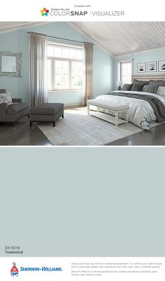 Produce the cosiest cocoon in your sleeping area with these colour suggestions and tricks for . bedroom paint colors I found this color with ColorSnap® Visualizer for iPhone by Sherwin-Williams: Breezy (SW Bedroom Paint Colors, Paint Colors For Home, House Colors, Master Bedroom Color Ideas, Blue Bedroom Ideas For Couples, Paint Colours, Gray Paint For Bedroom, Aqua Gray Bedroom, Paint Colors For Office