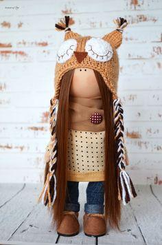 Fabric doll Interior doll Owl Home doll Art by AnnKirillartPlace
