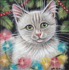 White Cat Kitten Portrait Xmas Tree Original Art 5x5 Painting by MARTA