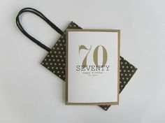 70th Birthday card. Happy 70th Birthday. Gold and black birthday card. Modern typography age birthday card. Recycled birthday card 70 today.
