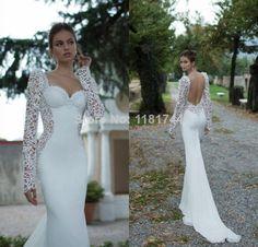 2014 New Romantic Lace Applique Long-sleeved Wedding Dress Sexy Backless Chiffon Mermaid Wedding Dress, $109.95 | DHgate.com