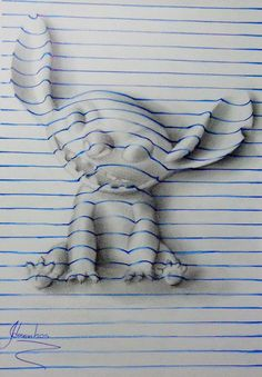 15-Year-Old Artist Creates Remarkable Lined Paper 3D Illusion Drawings