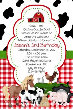 farm animal birthday | Barn Farm Animal Birthday Invitations You Print by DDHFavors04974