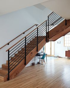 Staircase, Metal Railing, Wood Railing, and Wood Tread Photo 8 of 9 in This Beachside Pad in San Francisco Is the Stuff of Surfers' Dreams Staircase Handrail, Modern Staircase, Stairs, Metal Deck Railing, Concrete Porch, Building A Fence, Bungalow Homes, Interior Architecture, Living Spaces