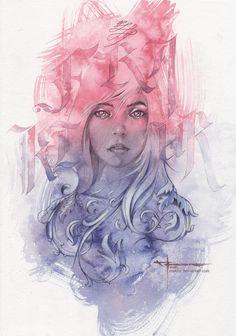 Fraktur by mekhz - watercolors, graphite, pastels on watercolor paper 140lb. 48 x 36 cm