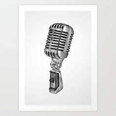 Microphone Art Print by Hanna Candell - $16.00 Vintage Microphone, New Art, Graphic Design, Art Prints, Words, Illustration, Room, Art Impressions, Bedroom