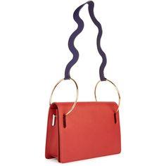 ROKSANDA Ring Wave Shoulder Bag ($1,905) ❤ liked on Polyvore featuring bags, handbags, shoulder bags, red, genuine leather handbags, red handbags, red shoulder bag, genuine leather shoulder bag and white leather purse