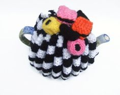 hand knitted tea cozy  cosie black and white  with allsort sweets medium  pot wool uk seller