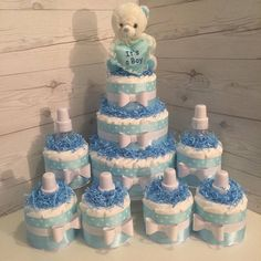 Look at the webpage to read more on diaper cake centerpieces; Buying your baby shower event gown can be very expensive.When you are shopping, consider. Baby Shower Cake Sayings, Baby Shower Crafts, Baby Shower Themes, Diaper Cake Centerpieces, Baby Shower Centerpieces, Baby Shower Decorations, Cake Decorations, Mini Diaper Cakes, Diaper Cake Boy