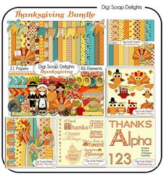 Printable digital Thanksgiving clip art for making placemats, door hangers, place cards games, and much more    Thanksgiving Bundle Save 60% Scrapbook Kit w by DigiScrapDelights,