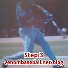 "Bo Jackson is Step 3.  Even ""BO KNOWS"" Step 3 in the '3 Steps in a Major League Swing.""  Notice how his head is on the vertical axis above his back thigh.  The tighter our swing is on this axis, the more velocity we can produce when we rotate our body, thus faster bat speed.  As we rotate our body from Step 2 to Step 3, we are rotating in a circle that must be as tight as possible in order to get the maximum bat speed.  For more FREE hitting tips and tricks, go to www.venombaseball.net/blog"