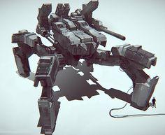 Nuthin' But Mech: March 2013 Mechanical Art, Mechanical Design, Cuadros Star Wars, Mecha Suit, Big Battle, Sci Fi Armor, Sci Fi Ships, Tank Design, Mass Effect