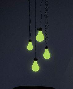 Adesivo de parede: lâmpadas: GECKO Adesivos Decorativos Wall Decals, Glow, Ceiling Lights, Ideas, Design, Dark, Home Decor, Glow In Dark, Tools For Working Wood