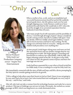 """Linda Flannery (Film Producer of  """"Only God Can"""")   Victorious Women Magazine"""