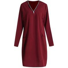 Stylish V-Neck Long Sleeve Solid Color Plus Size Women's Dress