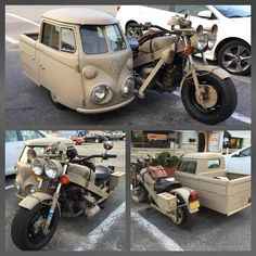 Hand fabricated with a Volkswagen engine! Vintage Motorcycles, Custom Motorcycles, Custom Bikes, Custom Cars, Cars And Motorcycles, Scooter Custom, Vw Minibus, Combi Ww, Vw Camping