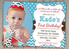 Boys 1st Birthday Invitation / Blue and by InvitaitonsByLittleP