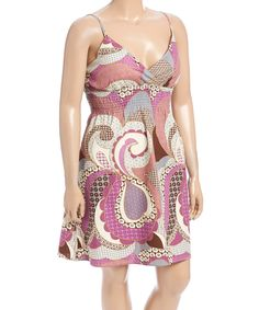Loving this Purple & Cream Abstract Spaghetti-Strap Dress - Plus on #zulily! #zulilyfinds