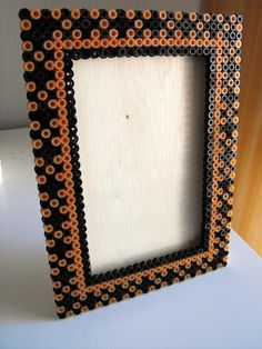 Photo frame hama beads cm) by Crapules Hama Beads Patterns, Beading Patterns, Fuse Beads, Perler Beads, Photo Pixel, Beaded Banners, Beads Pictures, Bead Kits, Hobby