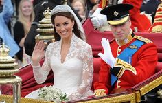 William and Kate wave from their carriage on their wedding day, April 29, 2011.