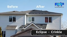 What a difference the Eclipse Crinkle made to this home! Installations by RVP Roofing add a fresh clean look, as well as lifetime protection.  To see more, visit us at www.rvp-roofing.com. Don't forget to like and pin! #RVP #highstrengthsteel #permanentroof #armadura #EclipseCrinkle Fresh And Clean, Metal Roof, Don't Forget, Garage Doors, Shed, Outdoor Structures, Homes, Outdoor Decor, Home Decor
